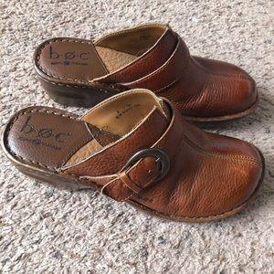 Born Concept tan leather clogs, size 8